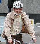 Stephan Vance on his bicycle
