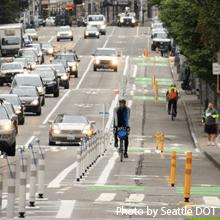 Protected bike lane in Seattle (SDOT)