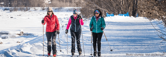 Skiing on the Tony Knowles Coastal Trail | Visit Anchorage